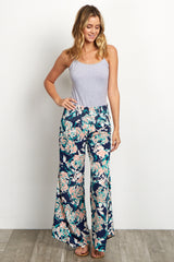 Navy Blue Floral Flare Pants