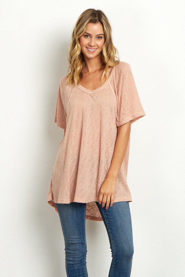 Peach Short Sleeve Stitch Accent Knit Top