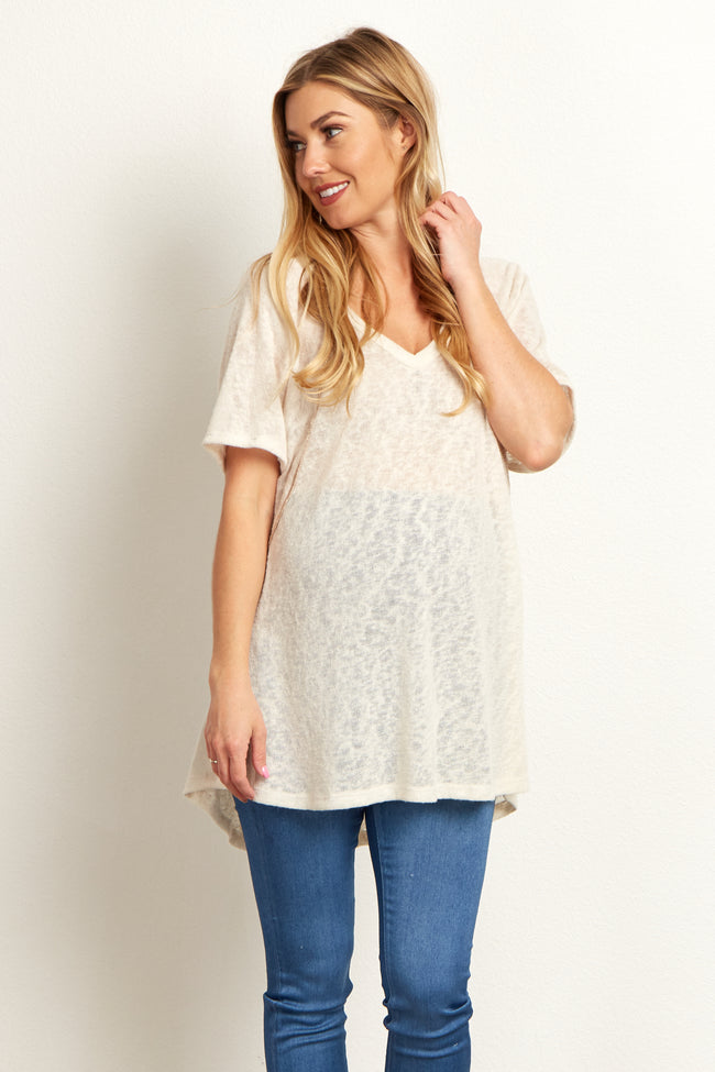 Ivory Short Sleeve Stitch Accent Knit Maternity Top