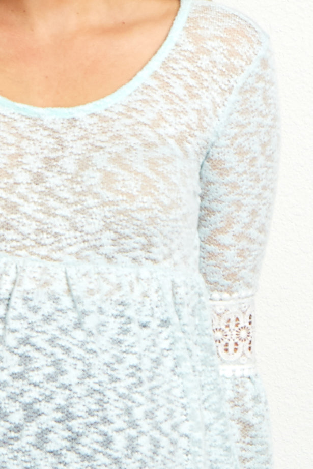 Mint Green Crochet Bell Sleeve Knit Babydoll Maternity Top