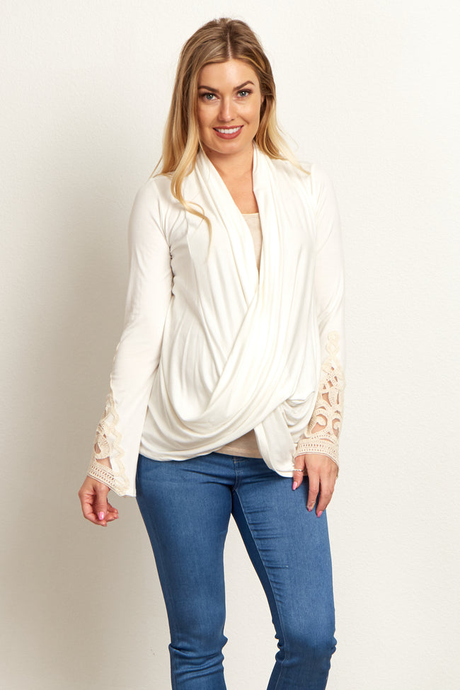White Draped Front Crochet Sleeve Maternity Top