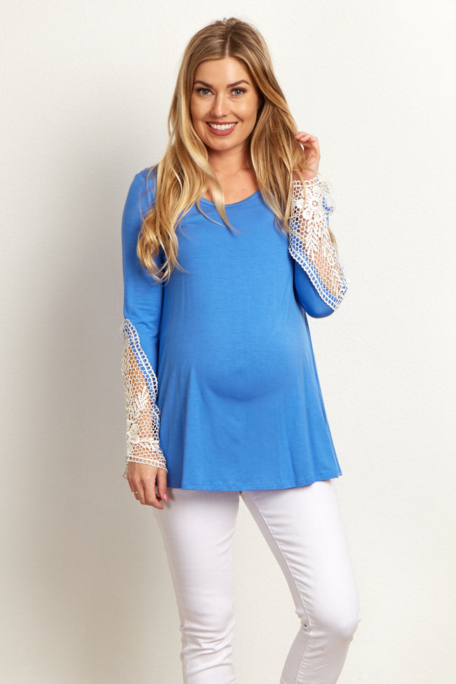 Blue Floral Lace Sleeve Maternity Top