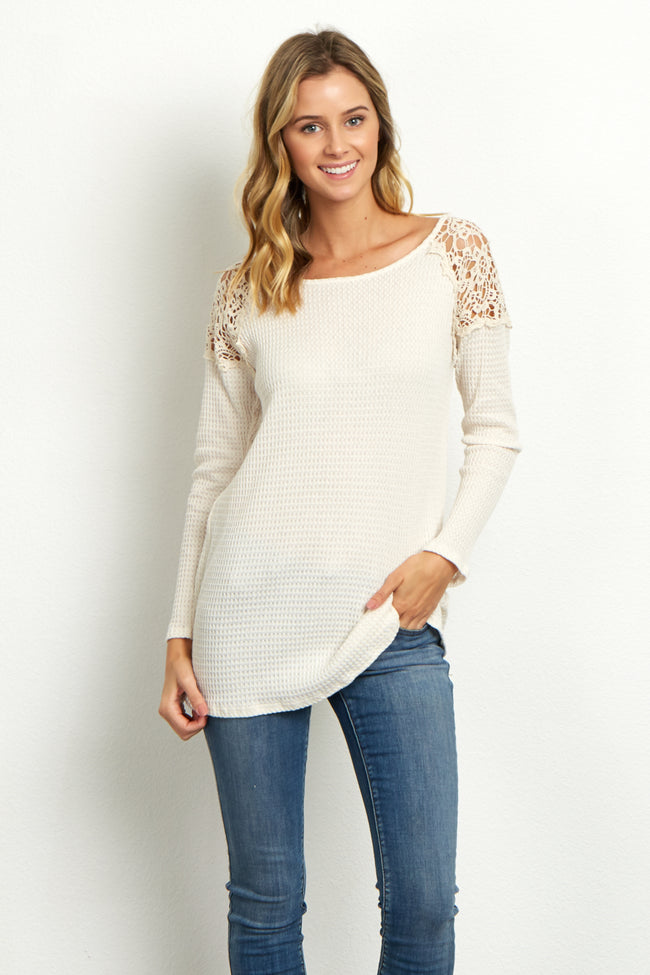 Ivory Crochet Shoulder Thermal Maternity Top