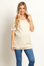 Beige Textured Pocket Front Short Sleeve Maternity Top