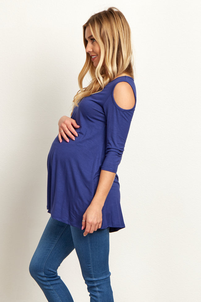 Navy Blue Open Shoulder 3/4 Sleeve Maternity Top