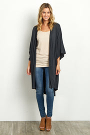Black Short Sleeve Long Cardigan