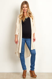 Ivory Short Sleeve Long Maternity Cardigan