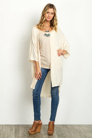 Ivory Short Sleeve Long Cardigan