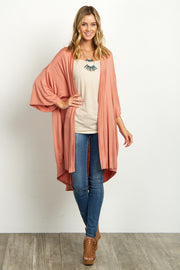 Coral Short Sleeve Long Cardigan