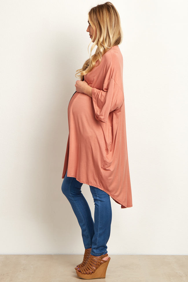 Coral Short Sleeve Long Maternity Cardigan