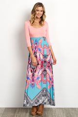Pink Top Abstract Bottom Maternity Maxi Dress
