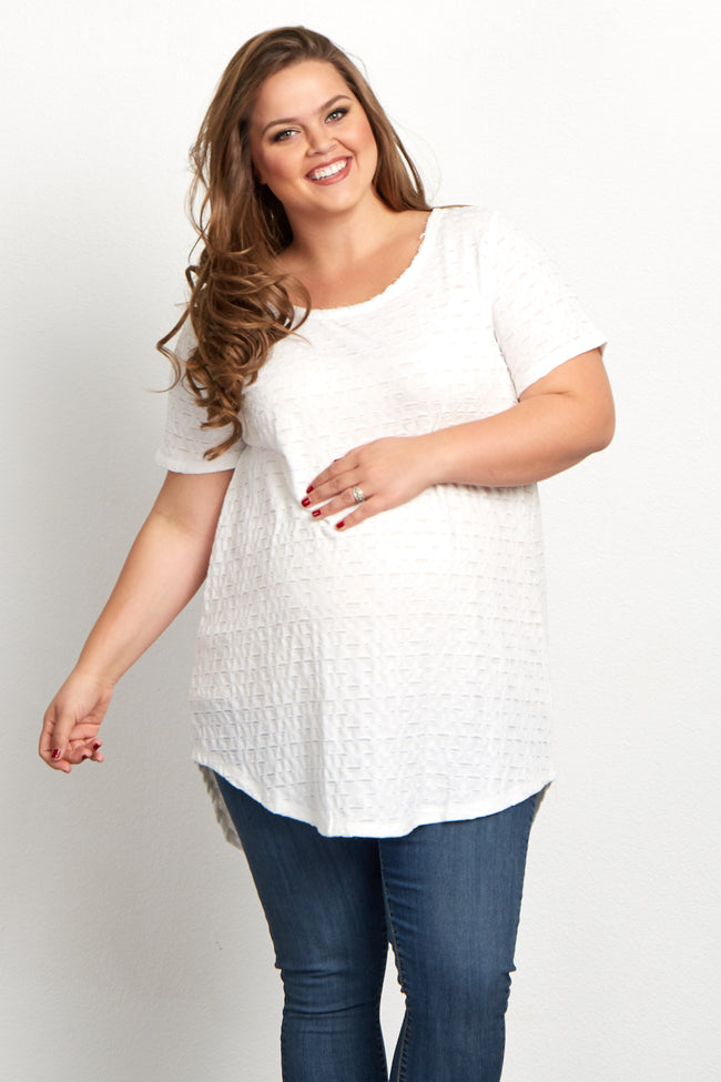 White Cutout Textured Plus Size Maternity Top