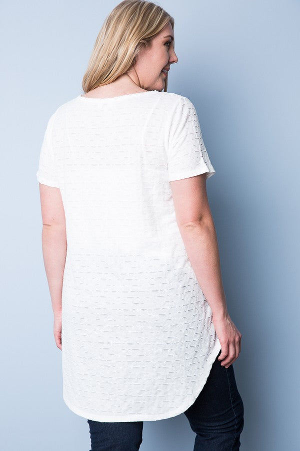 White Cutout Textured Plus Size Top
