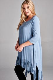 Blue 3/4 Sleeve Fringed Plus Size Tunic