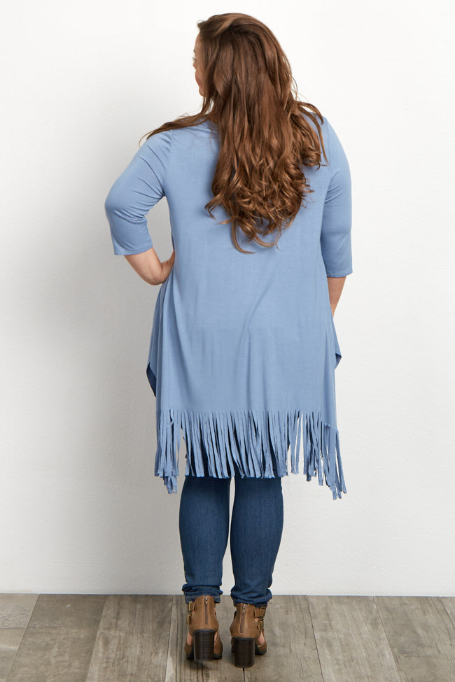 Blue 3/4 Sleeve Fringed Plus Size Maternity Tunic