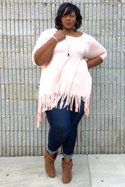 Pink 3/4 Sleeve Fringed Plus Size Tunic