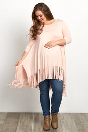 Pink 3/4 Sleeve Fringed Plus Size Maternity Tunic