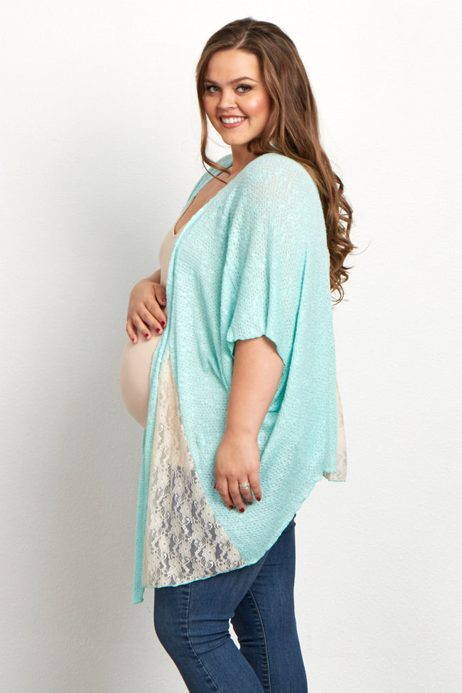 Mint Green Lace Accent Plus Size Maternity Cardigan