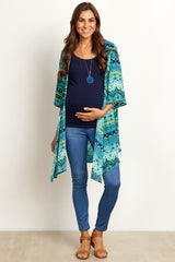 Aqua Multi-Color Abstract Maternity Kimono
