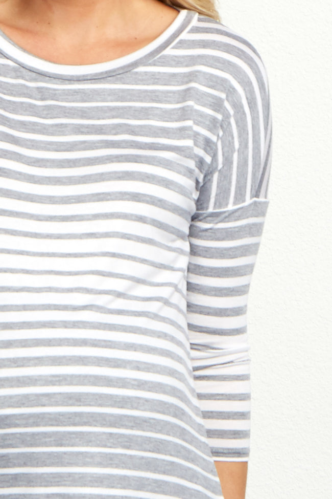 Grey Striped Lace Trim Maternity Top