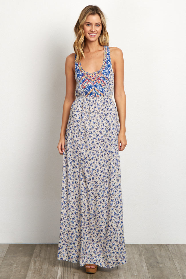 Royal Blue Floral Neon Embroidered Front Maternity Maxi Dress