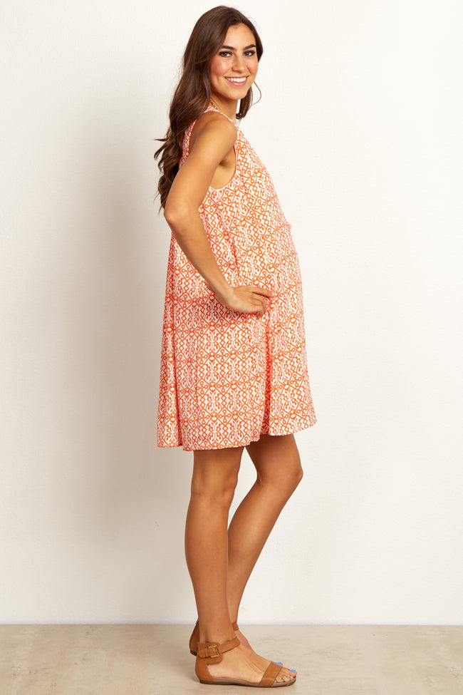 Orange Abstract Open Back Maternity Dress