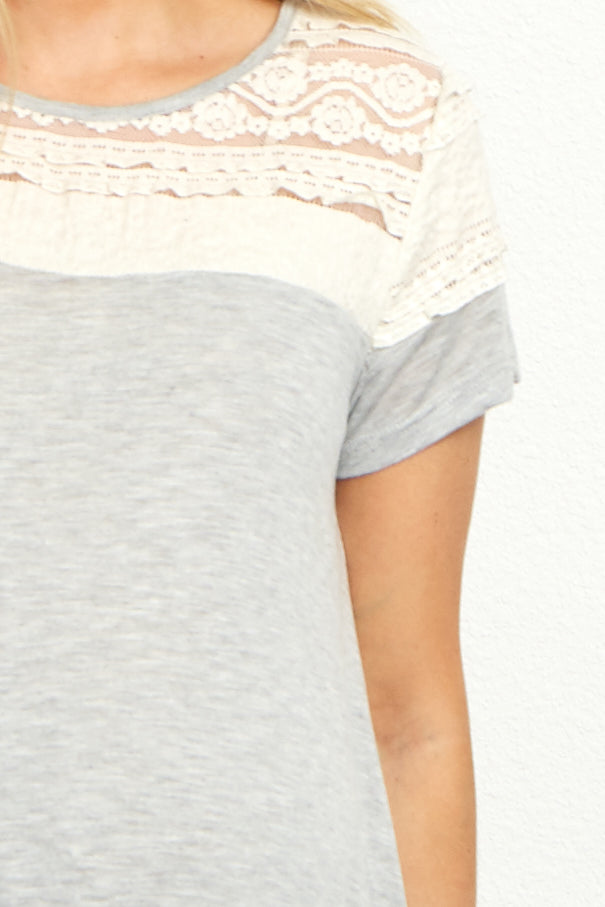 Grey Ruffled Lace Neckline Short Sleeve Maternity Top