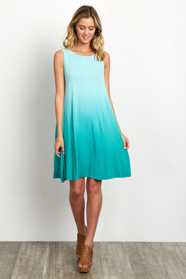 Mint Green Ombre Basic Sleeveless Dress