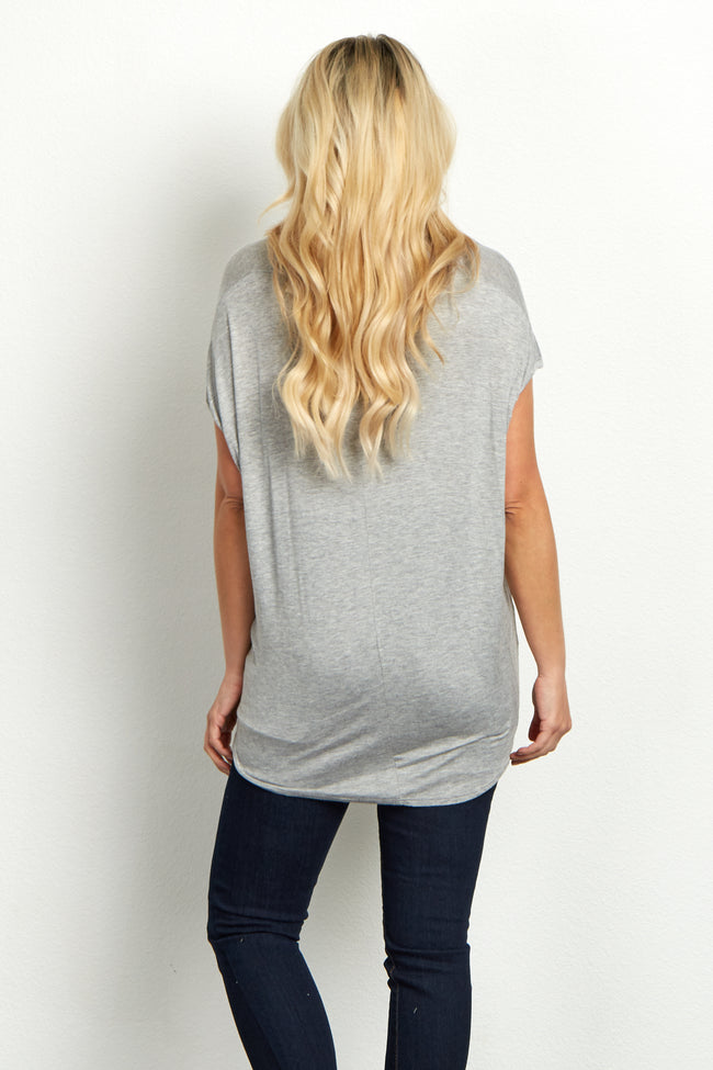 "Grey ""Namast'ay In Bed"" Graphic Maternity Top"