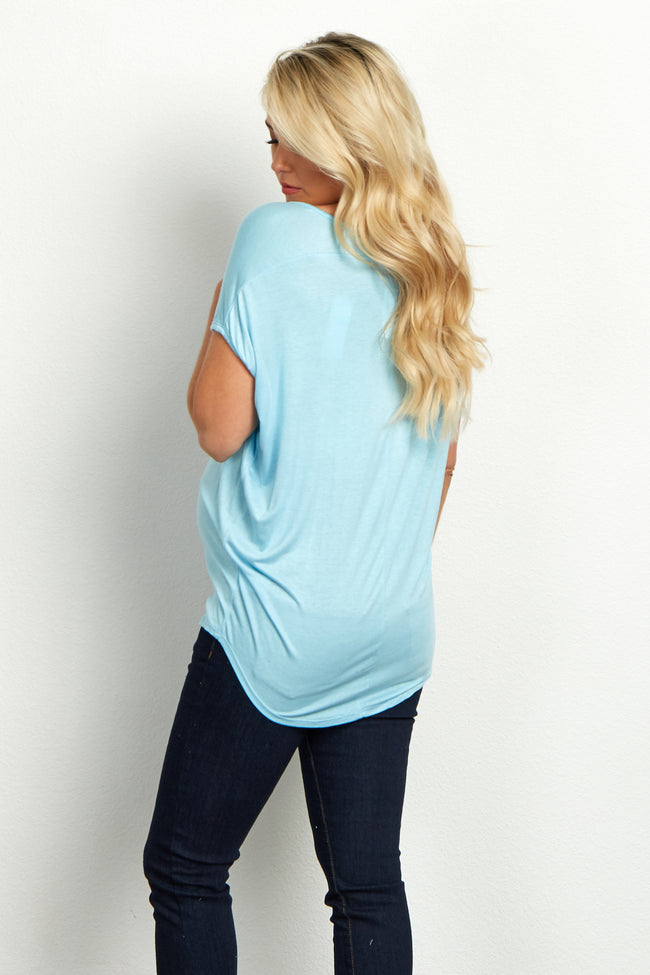 "Light Blue ""Namast'ay In Bed"" Graphic Maternity Top"