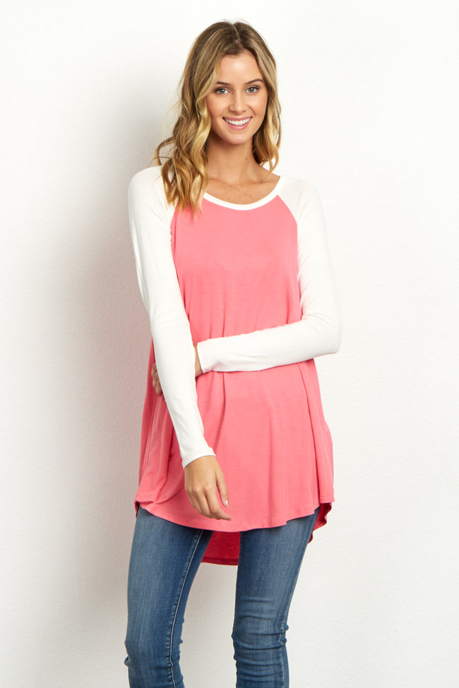 Pink Basic Colorblock Sleeve Top