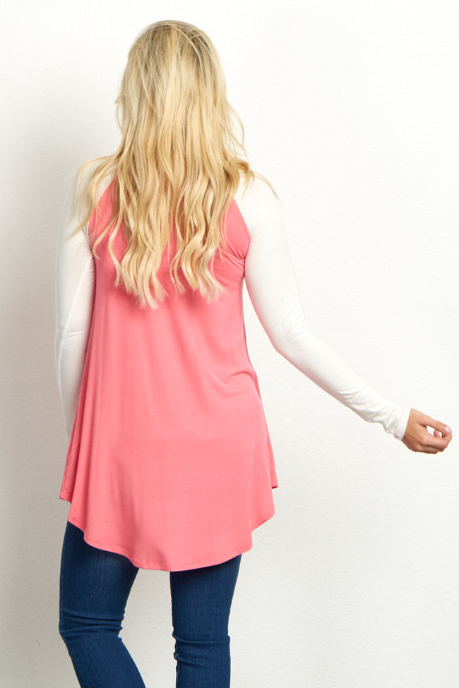 Pink Basic Colorblock Sleeve Maternity Top