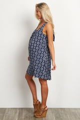 Navy Tribal Print Bow Back Maternity Dress