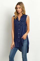Navy Blue Checkered Sleeveless Maternity Blouse
