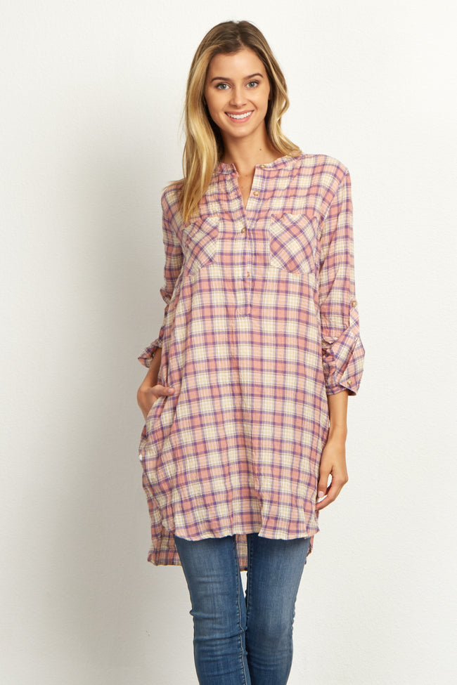 Light Pink Multi-Color Plaid Button Front Tunic