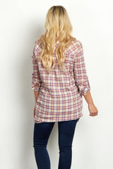 Light Pink Multi-Color Plaid Button Front Maternity Tunic