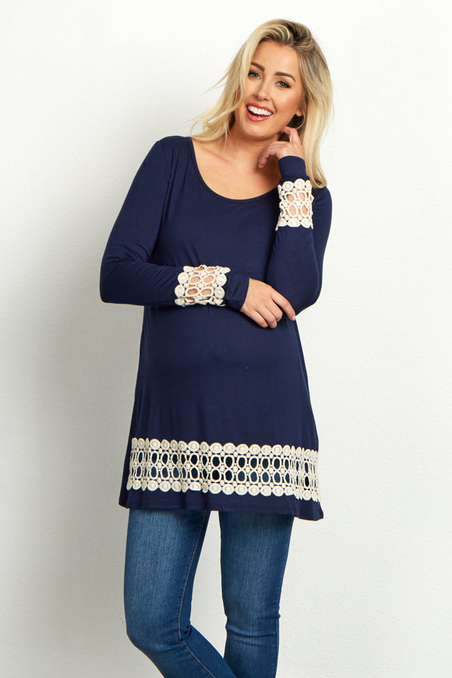 Navy Blue Open Crochet Accent Long Sleeve Maternity Top