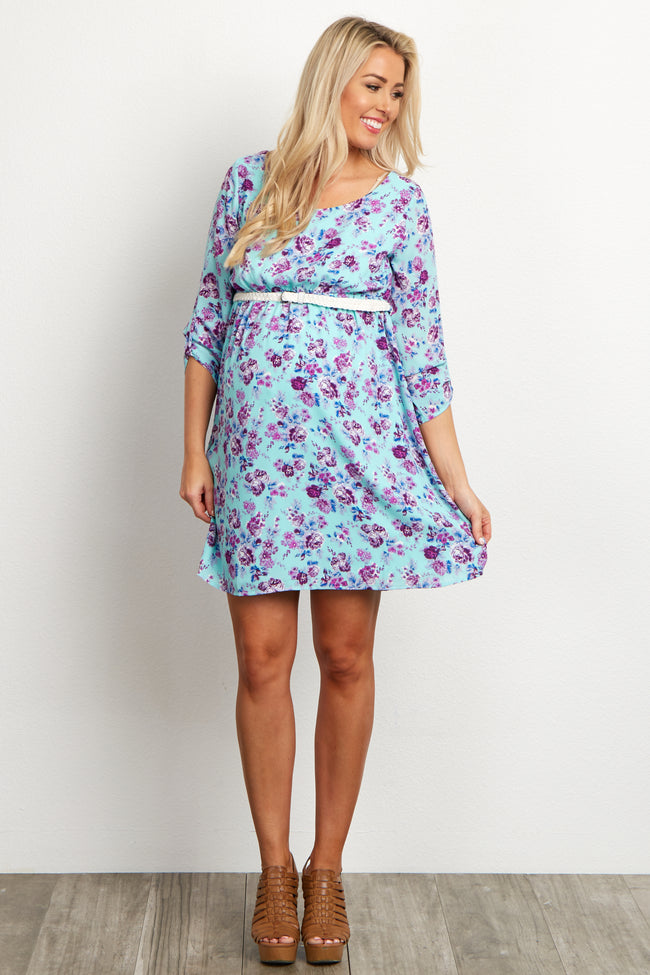 Mint Purple Floral Belted 3/4 Sleeve Maternity Dress
