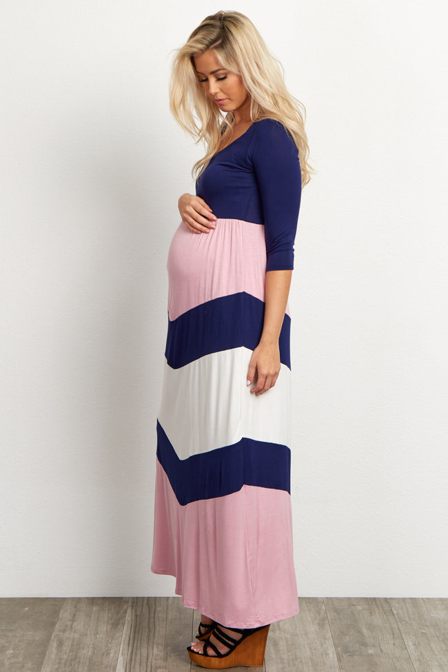 Navy Blue Top Chevron Bottom Maternity Maxi Dress
