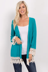Aqua Crochet Trim Maternity Cardigan