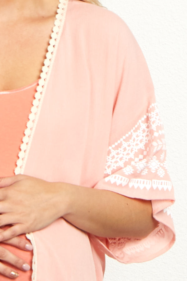 Light Pink Tribal Sleeve Embroidered Trim Maternity Kimono