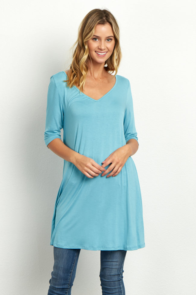 Light Blue V-Neck Open Back Tunic