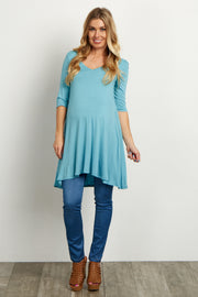 Light Blue V-Neck Open Back Maternity Tunic
