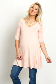 Light Pink V-Neck Open Back Tunic
