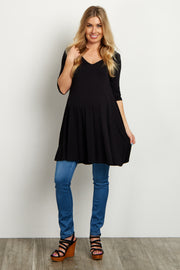 Black V-Neck Open Back Maternity Tunic