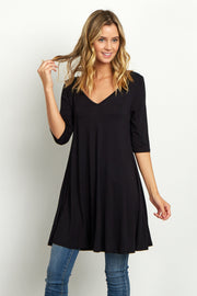 Black V-Neck Open Back Tunic