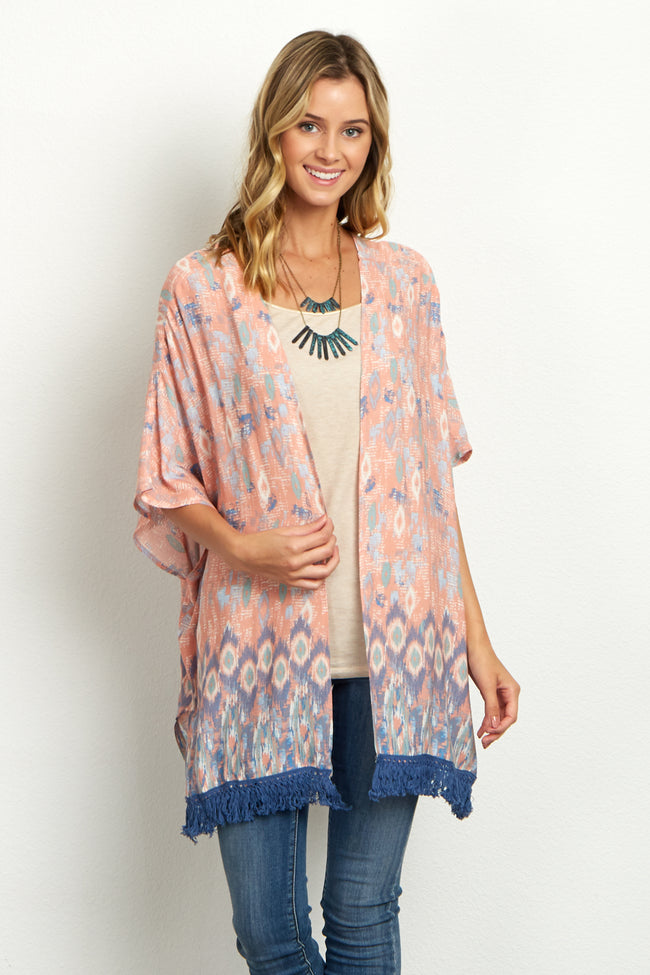 Pink Abstract Fringe Trim Maternity Kimono