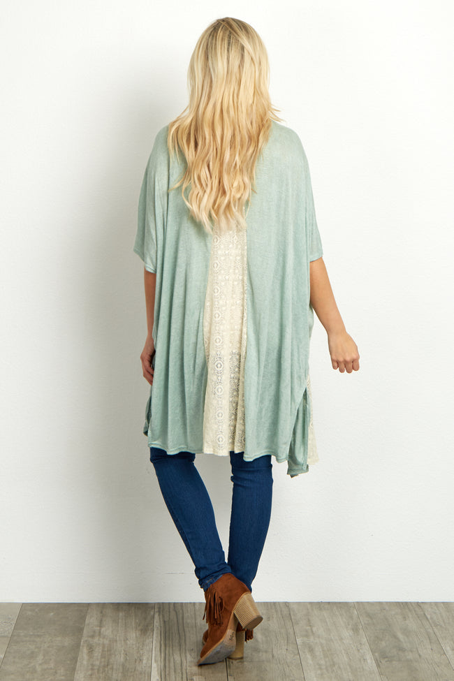 Sage Tribal Trim Lace Accent Maternity Kimono