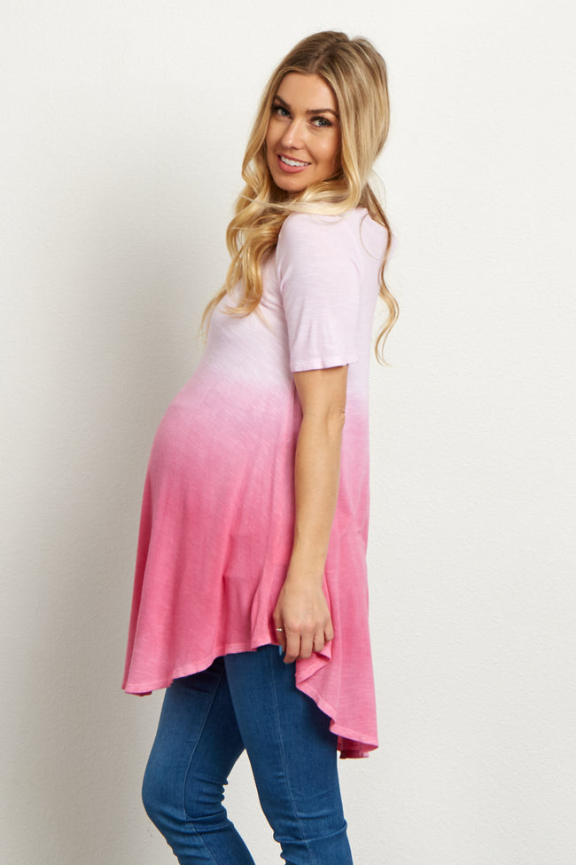 Pink Faded Short Sleeve Knit Maternity Tunic