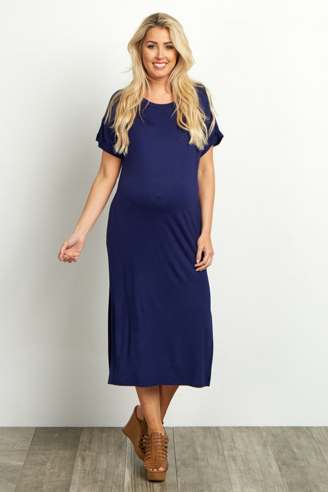 Navy Blue Side-Slit Maternity Midi Dress